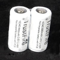 Аккумулятор литиевый TrustFire Protected 16340 880mAh 3.6V Rechargeable Li-Ion Batteries (1 шт)